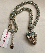 Betsey Johnson Gold Tone Crystal & Flower Sugar Skull Pendant Necklace NWT
