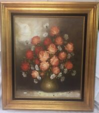 Vintage Floral Still Life Framed Oil On Canvas Painting Sign R. Pasanault 20x24