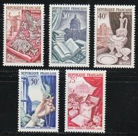 France 1954 MNH Mi 996-1000 Sc 711-715 Famous French cultural Icons **