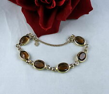 Vintage Sarah Coventry Faceted Amber Glass  Gold tone Bracelet  CAT RESCUE