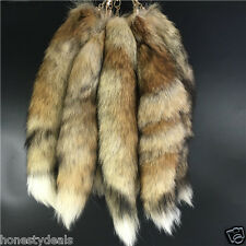 "16"" Large Real Grass Fox Fur Tail Keychain Leather Tassel bag charm Key Ring"