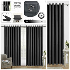 """Insulated Blackout Thermal Curtains Ready Made Eyelet Ring Top Dark Grey 90""""x90"""""""