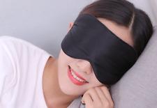 True Natural silk smooth travel sleep eye mask blindfold eye-shade Black a F01