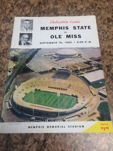 VGC Ole Miss vs. Memphis State Football Program Sept. 18th 1965 Memorial Stadium