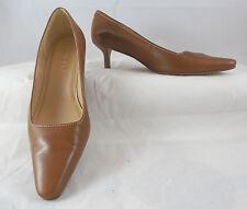 Ralph Lauren womens brown tan leather point toe medium heel pump shoes size 7 B