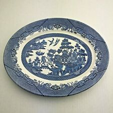 Churchill Vintage Blue Willow Serving Platter Oval China Blue White