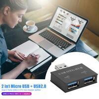 2 in1 Micro USB + USB2.0 to Dual 2 Ports USB2.0 OTG Hub Laptop Adapter Splitter