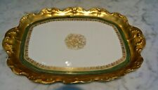Limoges Hand Painted Heavy Gilded Gold Border Dresser Tray