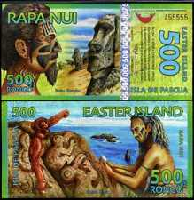 EASTER ISLAND 500 RONGO 2012 POLYMER NEW HOLOGRAM SOLID NUMBER A 55555 UNC