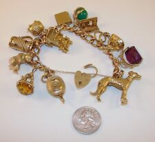 Spectacular 9k Gold Charm Bracelet 3-D Fobs Moveable Greyhound Bear Jewels