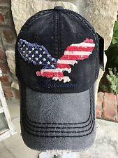 NEW Women's vintage USA, Americana, Eagle, black distressed Baseball hat,cap,