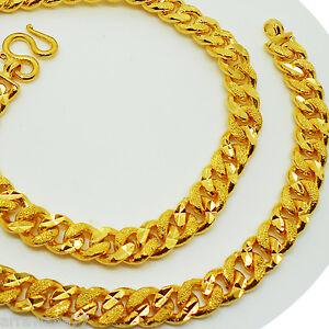 Men's Chain Heavy 22K 24K Thai Yellow Gold Plated Necklace 29 inch Jewelry 11 mm