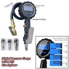 Portable Car Truck Bike Digital Tire Inflator Pressure Guage 200 PSI w/3 Nozzles