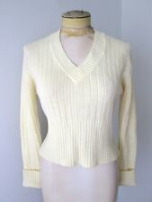 VGC Vtg 70s Kimlon Mod Cream Acrylic V-Neck Cropped Disco Sweater XS/S