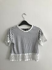 TOPSHOP Navy/White Striped Floral Hem Short Sleeve Crop Top - Size UK 6 Petite