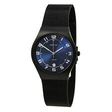 Bering Men's Watch Titanium Blue Dial Black Milanese Mesh Bracelet 11937-227