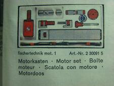Fischertechnik Motorkasten 30091 mot.1 - unbenutzt - mit Unterlagen