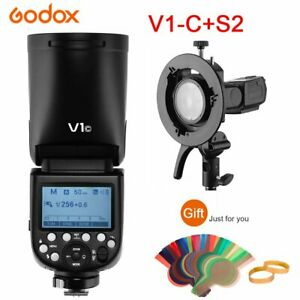Godox V1-C 2.4G TTL HSS Camera Flash + S2 Bowens Mount S-type Holder For Canon