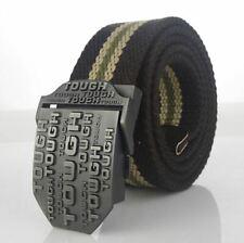 Mens Quality Canvas Belt - Black Stripe - TOUGH Logo - 6 Sizes - BE0006