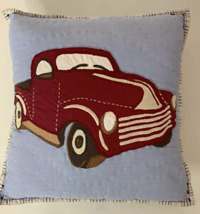Pottery Barn Kids Bed Throw Pillow Little Trucks Red Blue