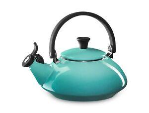 NIB BEAUTIFUL LE CREUSET CARIBBEAN BLUE ZEN WHISTLING TEA KETTLE 1.6 QT