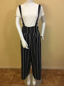 Women Ladies Wide Leg Stripes Pants with Ring Suspenders
