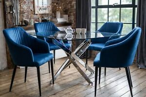 Luna Luxury Glass Dining Table Set with 4 Aria Blue Scoop Chairs Square