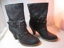 "Womens Wild Duces Eddie Moran Brown Shoes Boots Buckles Size 9.5M 3 1/4"" Heel"