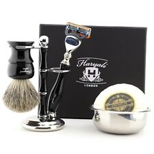 Unique Shaving Kits Smooth Shave Kit for Men 5-Pieces Wet Grooming Set BLACK