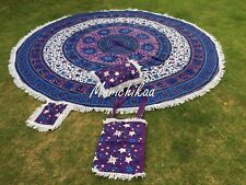 """Round Indian Sun Moon Tapestry Table Cloth Wall Hanging Hippie Beach Roundie 82"""""""
