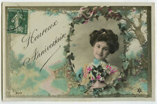 c 1909 Vintage French Glamour GLAMOR LADY Cameo antique photo postcard