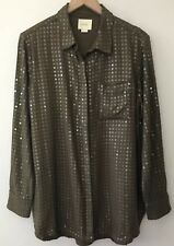 Anthropologie Maeve Sz M Medium Sequined Blouse Olive Green Shirt Top