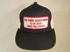 Vintage Hat Mens Cap THE FIRST STATE BANK IS MY BANK Gage, Oklahoma [Z191k]