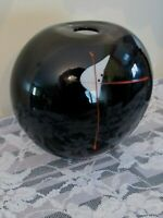 Vintage 1984 SHARON FUJIMOTO SIGNED Black Red Art Glass Hand Blown 5 In Vase