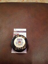Hockey 475 Goals Bernie Nicholls Autographed Kings Puck JSA L92846