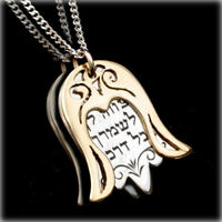 925 STERLING SILVER & GOLD Hamsa Necklace with Protection Prayer in Hebrew