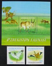 Usbekistan 2014 Vögel Antilopen Trappe Saiga Naturschutz 1077-1078 Block 69 MNH