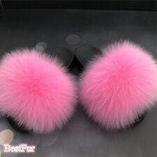 Pink-Max Large XXL Real Fox Fur Slides Womens Slippers Sandels Furry Flat Shoes