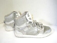 Women's Girls Sz 7 Pastry Silver Glitter Hi Top Athletic Basketball Dance Shoes