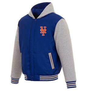 MLB New York Mets  JH Design Two Tone Reversible Fleece Hooded Jacket