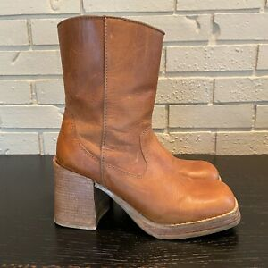 VINTAGE 70s HIPPIE BOHO THICK HONEY LEATHER PLATFORM WESTERN COWGIRL BOOTS 7.5 M
