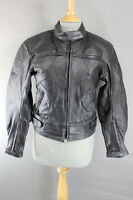 RIOSSI BRITISH BLACK COWHIDE LEATHER BIKER JACKET WITH THERMAL LINING SIZE 12
