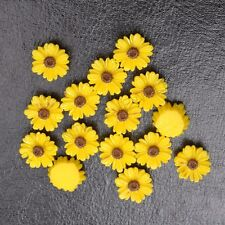 20Pcs Yellow Resin Sunflower flower flat back  DIY Charms Bead /have hole 12MM