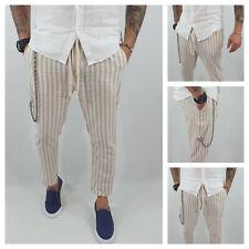Pantalone Uomo Lino Fasce Beige Primaverile tasche americane catena Casual s,m,l