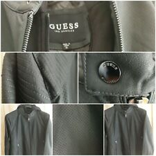 GUESS Men's Faux Leather Hooded Moto Jacket, grey  size XL