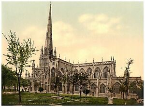 Bristol St. Mary Redcliffe photochrome print ca. 1890