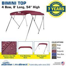 "New Pontoon Bimini Top Boat Cover 4 Bow 54"" H 73"" - 78"" W 8 ft. Long Burgundy"