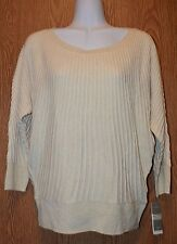 Womens Ivory Gold Charter Club 3/4 Sleeve Ribbed Knit Sweater Size Small NWT NEW