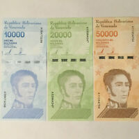 LOT of 3 2019 Bolivares Venezuela 10000 20000 50000 Set PCS + Free Shipping