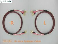 S01Bw (2m 6.5ft)---Pair HIFI Bi-Wire Canare Star Quad Speaker Audio Cable Banana